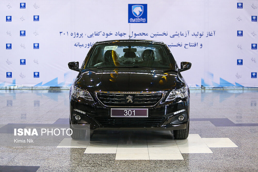 This photo by Mehr news agency on July 15, 2019 shows a Peugeot 301 on a new production line set up by Iran Khodro Company (IKCO) west of the Iranian capital Tehran.